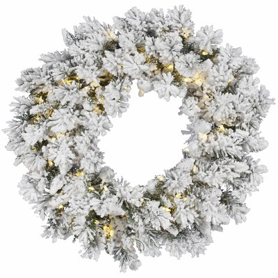 Vickerman Co. Flocked Snow Ridge Sprays Wreath with 100 LED Lights