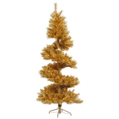 Vickerman Co. Glitter 7' Gold Spiral Artificial Christmas Tree with 300 Clear Lights