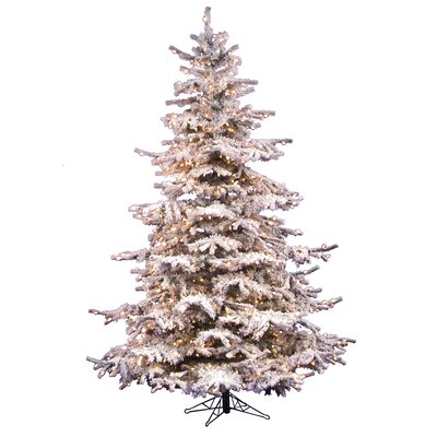 Vickerman Flocked Sierra Fir 8.5' White Artificial Christmas Tree with 850 Clear Lights with ...