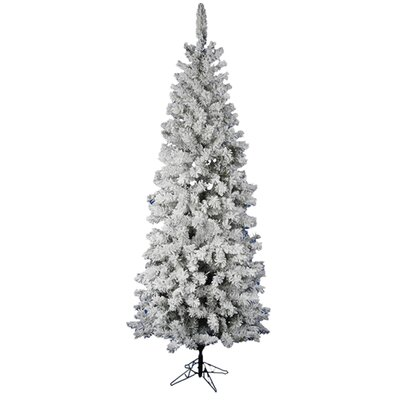 Vickerman Flocked Pacific Pine 7.5' White Artificial Pencil Christmas Tree with Stand