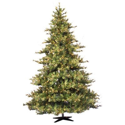 Vickerman Mixed Country Pine 7.5' Green Artificial Christmas Tree with 800 Clear Lights with ...