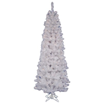 Vickerman Salem Pencil Pine 6.5' White Artificial Christmas Tree with 180 LED Warm White LED ...