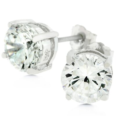 J Goodin Sterling Silver Cubic Zirconia Stud Earrings