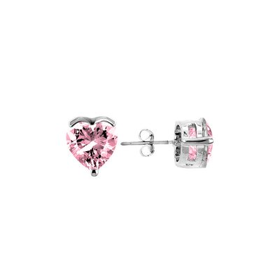 Silver-Tone Pink Heart Cubic Zirconia Stud Earrings