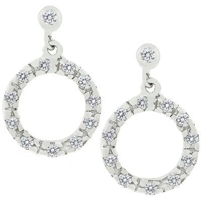 Sterling Silver Cubic Zirconia Circle Earrings