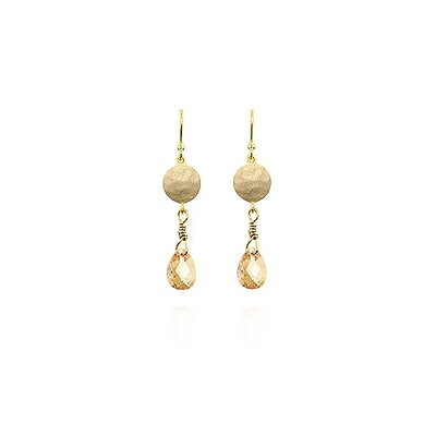 Gold-Tone Champagne Cubic Zirconia Drop Earrings