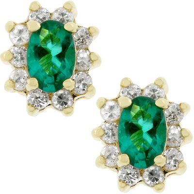 Gold-Tone Emerald Cubic Zirconia Stud Earrings