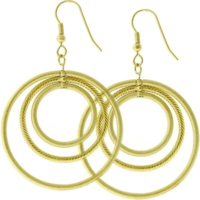 Gold-Tone Inscribed Circles Hoop Earrings