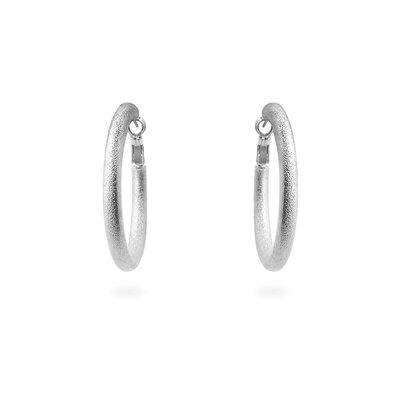 Silver-Tone Thick Hoop Earrings
