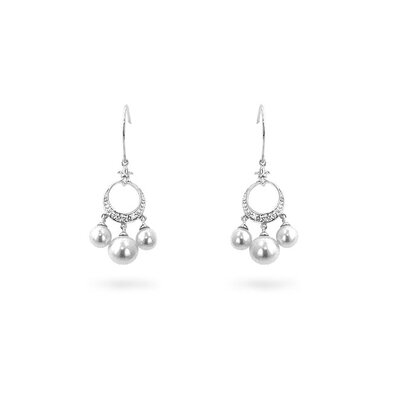 Silver-Tone Faux Pearl Drop Earrings