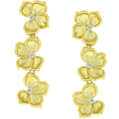 Kate Bissett Gold-Tone Cubic Zirconia Drop Flower Earrings