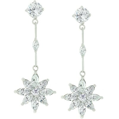 J Goodin Silver-Tone 'Once Upon A Star' Cubiz Zirconia Earrings
