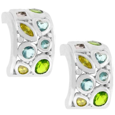 Silver-Tone Multi-Colored Cubiz Zirconia Huggie Earrings