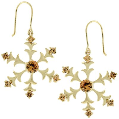 Gold-Tone Snowflake Champagne Cubiz Zirconia Earrings