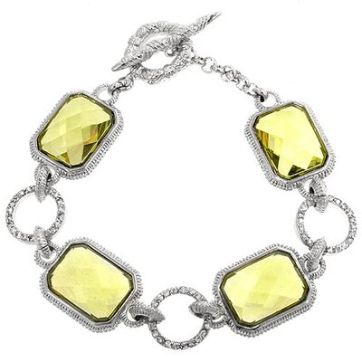 J Goodin Silver-Tone Cubiz Zirconia Cushion Cut Toggle Bracelet
