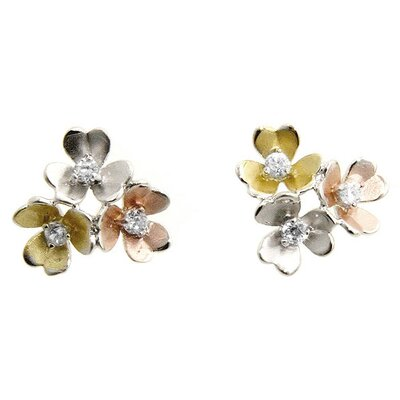 Silver-Tone Flower Bouquet Earrings