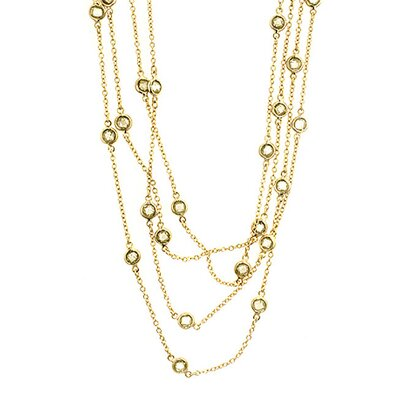 Kate Bissett Vermeil Champagne Cubiz Zirconia By The Yard Necklace