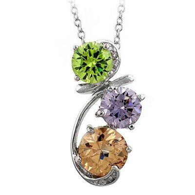 Kate Bissett Silver-Tone Multi-Colored Cubiz Zirconia Drop Pendant