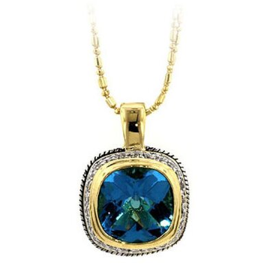 J Goodin Two-Tone Blue Cubiz Zirconia Pendant