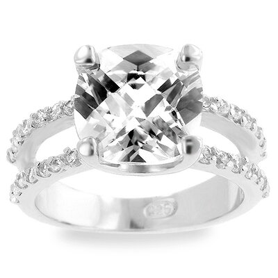 Sterling Silver Cubic Zirconia Cushion-Cut Ring