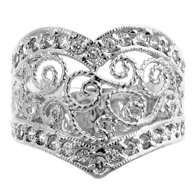 Silver-Tone Vintage Cubic Zirconia Estate Inspired Ring