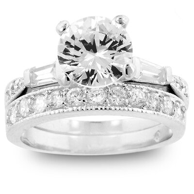 Kate Bissett Silver-Tone Cubic Zirconia Ring with Matching Eternity Band Ring