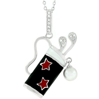 Silver-Tone Black Enamel Golf Bag Cubic Zirconia Necklace