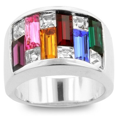 Silver-Tone Multi-Colored Cubic Zirconia Baguettes Ring