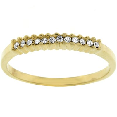 Gold-Tone Clear Cubic Zirconia Crystal Promise Ring