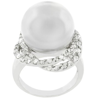 Silver-Tone White Faux Pearl Cocktail Ring