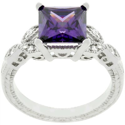 Sterling Silver Purple Cubic Zirconia Antique Style Ring