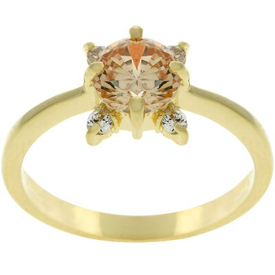 Gold-Tone Clear Cubic Zirconia Promise Ring