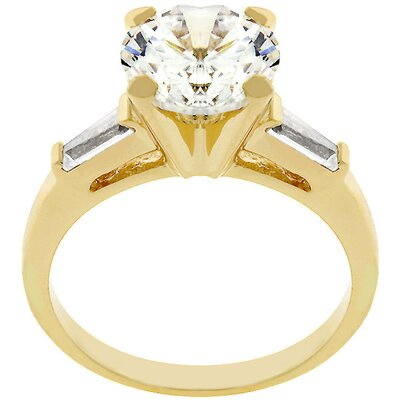 Gold Triplet Engagement Style Cubic Zirconia Ring
