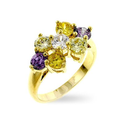 Gold-Tone Cubic Zirconia Flower Ring