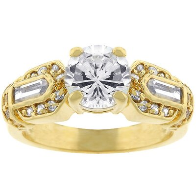 Gold-Tone Bridal Inspired Round Cut Cubic Zirconia Ring