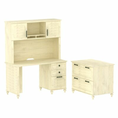 kathy ireland Office by Bush Volcano Dusk Small 3 Drawer Standard Desk Office Suite