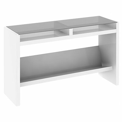 kathy ireland Office by Bush NEW YORK SKYLINE Laptop Sofa Table with Glass Top in Plumeria White Finish