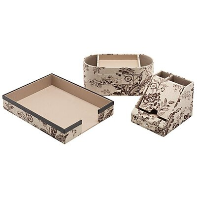 kathy ireland Office by Bush Grand Expressions assorted storage bin collection in Neutral & Chocolate Floral Print (Set of 4)