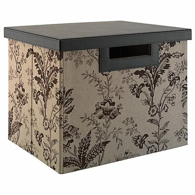 kathy ireland Office by Bush Grand Expressions Large File/Storage Bin in Neutral & Chocolate Floral Print