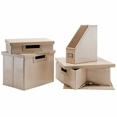 kathy ireland Office by Bush NEW YORK SKYLINE assorted storage accessory collection in Patent Leather Croc Beige (Set of 4)