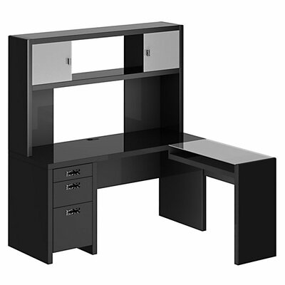New York Skyline L Shape Computer Desk With Hutch Wayfair