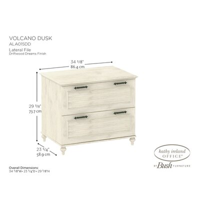 kathy ireland Office by Bush Volcano Dusk Lateral Hanging File in Driftwood Dreams Antique White Finish