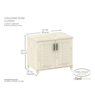"kathy ireland Office by Bush Volcano Dusk 2-Door 34"" Cabinet with Louvered Accents in Driftwood Dreams Antique White Finish"