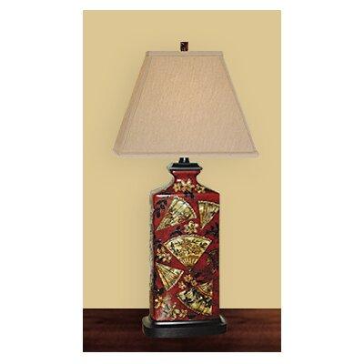 JB Hirsch Home Decor Rectangular Fan Art Table Lamp