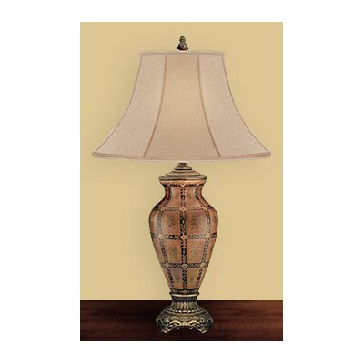 JB Hirsch Home Decor Leaf Hatch Ormolu Vase Table Lamp