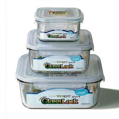 Kinetic Go Green Glasslock Assorted 3-Piece Square Food Storage Container Set