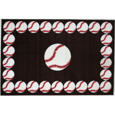 Fun Rugs Fun Time Baseball Time Red Kids Rug