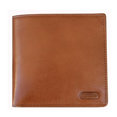 Leatherbay Double Fold Wallet with Coin Pocket in Tan/Natural