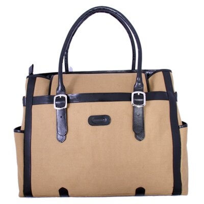 Leatherbay Laptop Compatible Zipper Fabric Tote Bag
