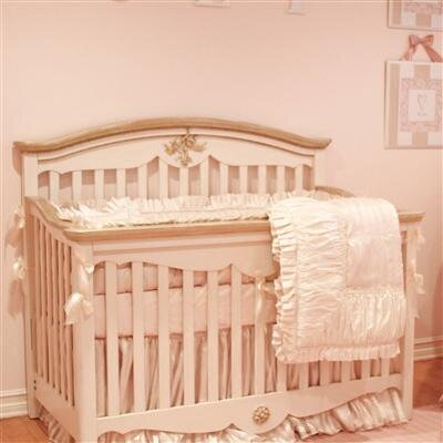 Petit Tresor Petit Ange Built to Grow Crib in Beige with Real Gold Leaf